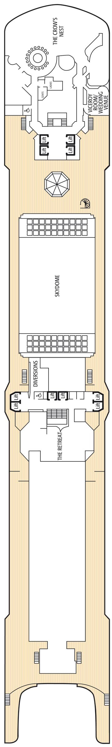 Sun deck deck plan for Arcadia deck plans