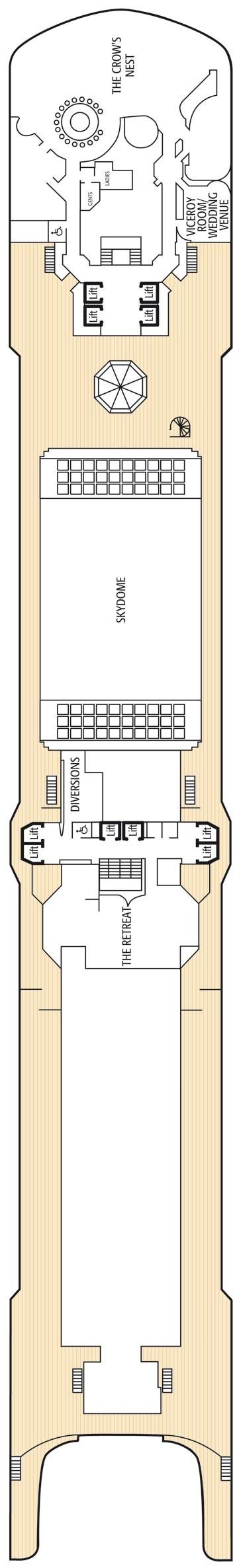 Sun deck deck plan for Arcadia deck plans