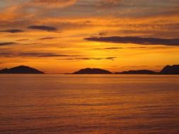 Sunset on the Fjords in Norway. | ,