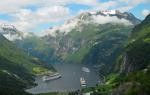 Geiranger, Norway, Celebrity Infinity in the foreground.