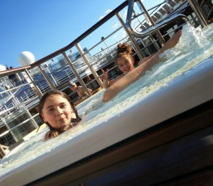 My Daughters enjoing the QE Hot Tub in the Sun.