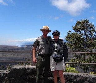 My wife with a ranger whilst on a Volcano Cycle excursion Hawaii off NCL Pride of America