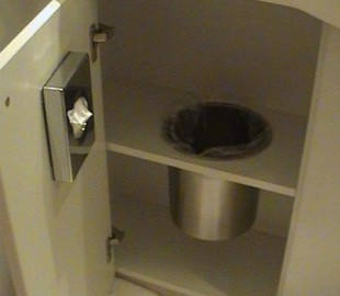 MSC Magnifica ~ Cabin bathroom. Under sink cabinet