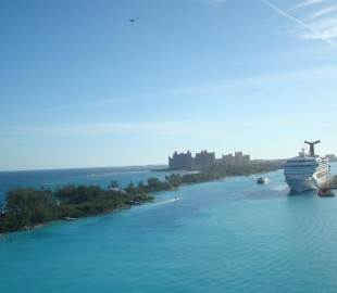 Sailing into Bahamas, Carnival ship and Atlantis in background, beautiful sail in...