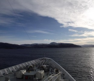 Aboard the Fred Olsen Boudicca crusing the Norweign coast in march 2012 near the Artic Circle