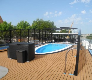Theres even a swimming pool which unusual for river cruise ships