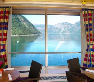 Lunch with a view - Ryndam moored in Eidfjord, Norway.