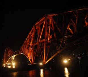 The Forth Rail Bridge at midnight as we sailed out from Rosyth