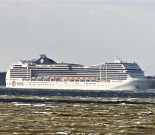 MSC Magnifica in the calmer waters of Southampton.
