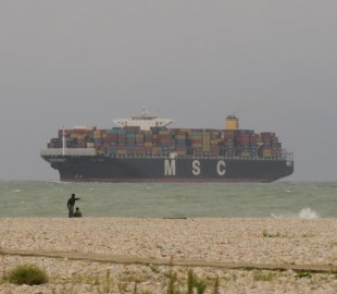 MSC sea testing of new economy cruise liner.  Spotted off the coast of le Havre.