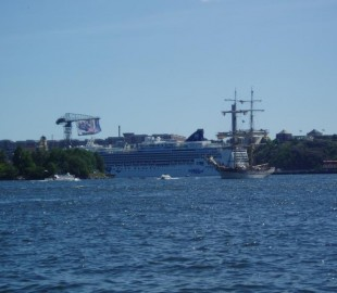 Stockholm, Sweden. Norwegian Jewel from the Water Taxi.