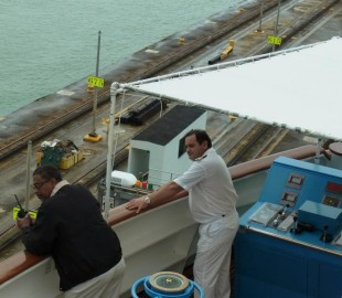 The Captain of the Silver Cloud Luigi Rutigliano in white, with one of the Panama Canal Pilots that guided the Ship through the Panama Canal in Nov; 2010