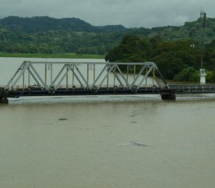 Railway Bridge on Gatun Lake, on the South side, for Trains taking goods to & from Panam City & beyond, taken in Nov; 2010