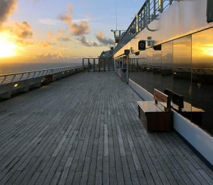 Reflections at dawn, on the top deck