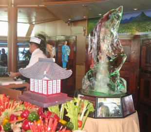 Ice Sculpture buffet. At sea on the Sea Princess heading to Montego Bay. March 2008.