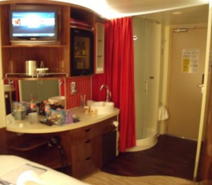Sorry about the blur, but you can see the strange layout out the sink and shower