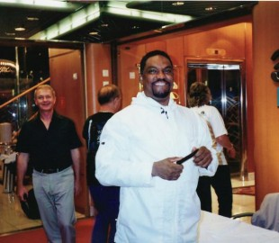Junior of The Drifters with myself in the background, Voyager Caribbean Cruise Nov 2004