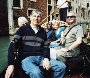With family on a Gondola in Venice off our return cruise on the old Thomson Emerald Sept 2002 (our first cruise was in May 1999)