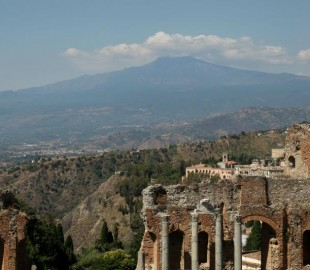 Mount Etna from the Greek Theatre, Taorima