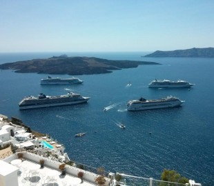 Ships in port at Santorini