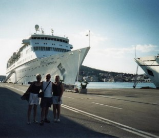 My wife, sister in law and myself with the Thomson Emerald on our Mediterranean our 2nd cruise on her Sept 2002