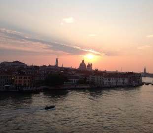 The rising sun over stunning Venice during our sail in - July 2013