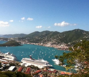 Our cruise ship Carnival Victory in St. Maartens, Caribbean