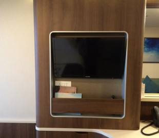 TV with magazine shelf
