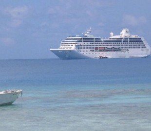 Tahitian Princess anchored off Huahine in the Society Islands.