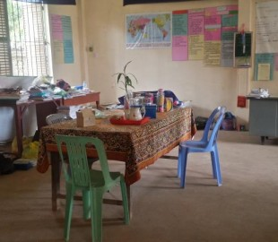The staff room for Koh Oknha's school