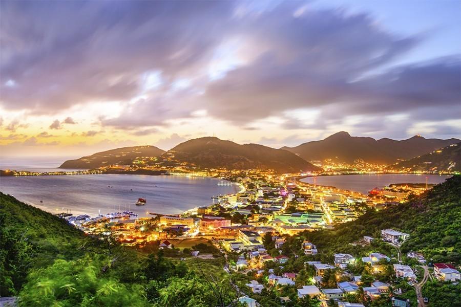 Philipsburg, Sint Maarten, Dutch Antilles cityscape at the Great Salt Pond.