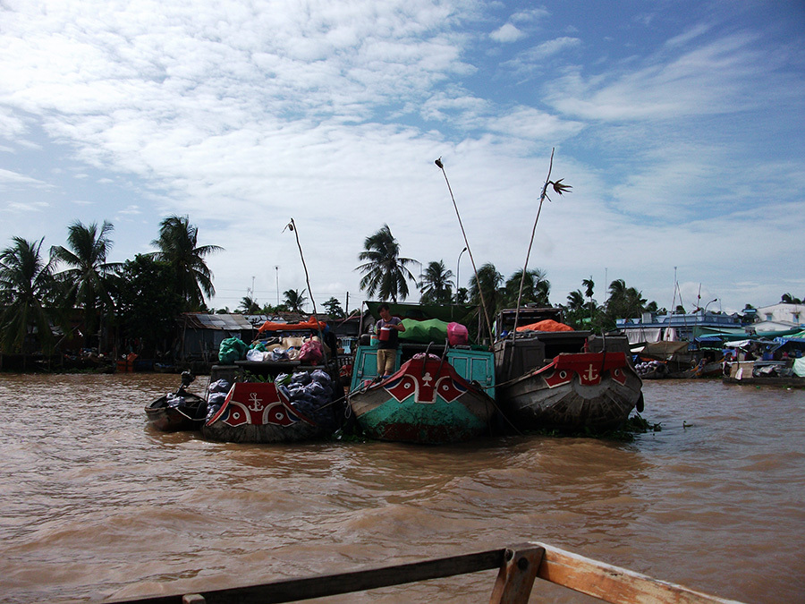 Decorated boats on the Mekong