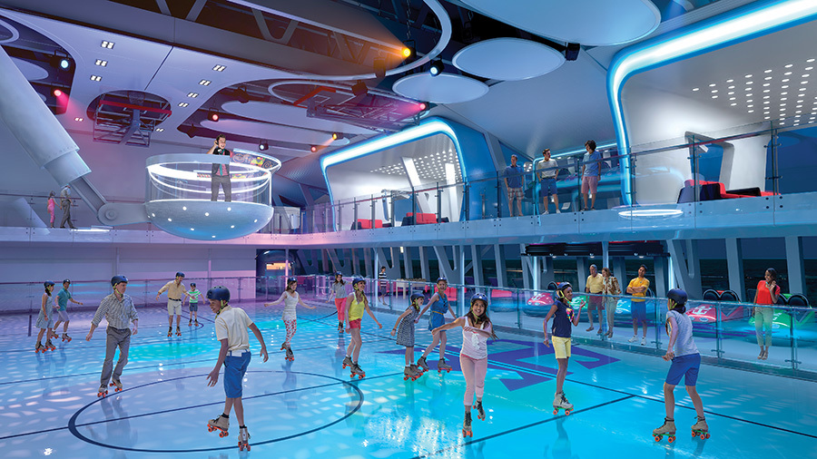 rollerskating in Royal Caribbeans Seaplex