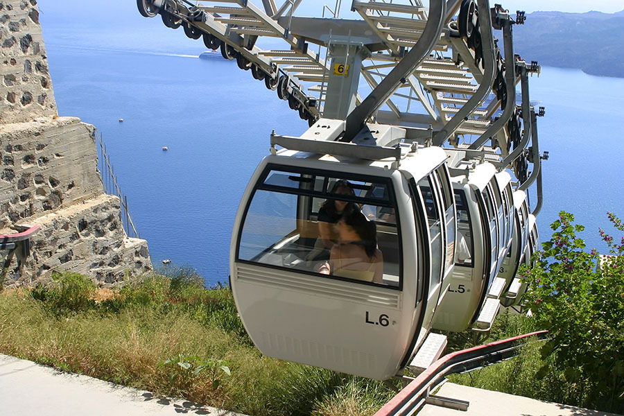 Cable car from Santorini, Greece