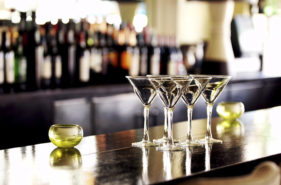 Martini Glasses on Bar