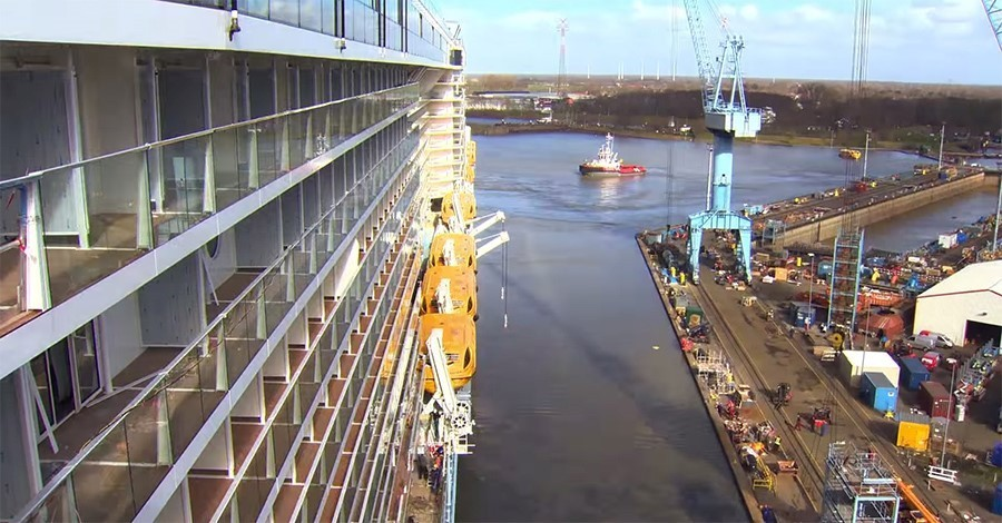 Anthem of the Seas on a river