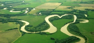 River in the shape of a heart