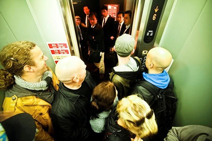 Crowded lift