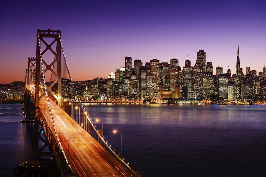 San Francisco skyline and Bay Bridge at sunset, California - grand voyages