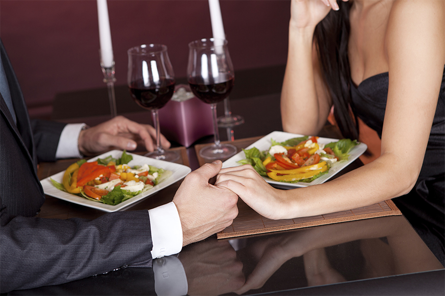 Romantic dinner at home? How lovely! And no-one to show you up by dressing better, either...