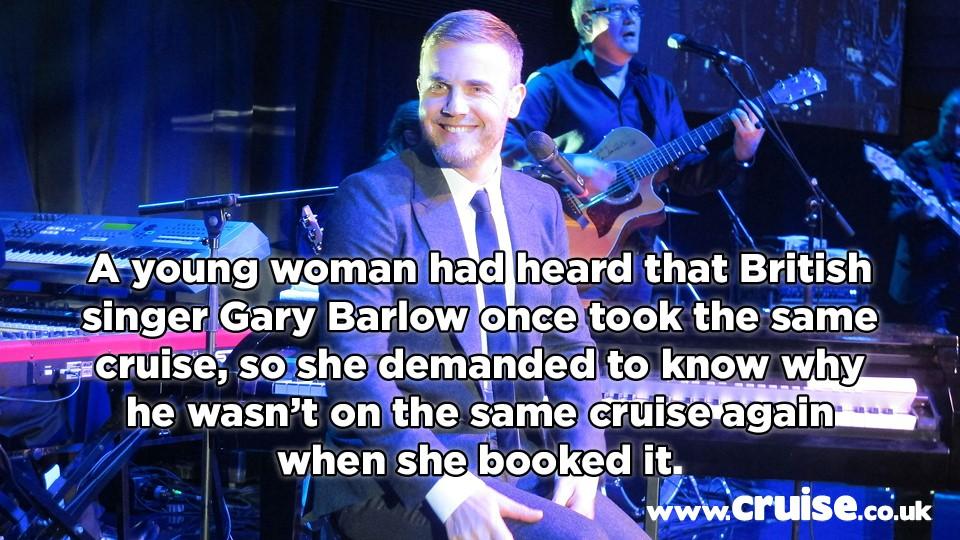 Gary barlow cruise complaint