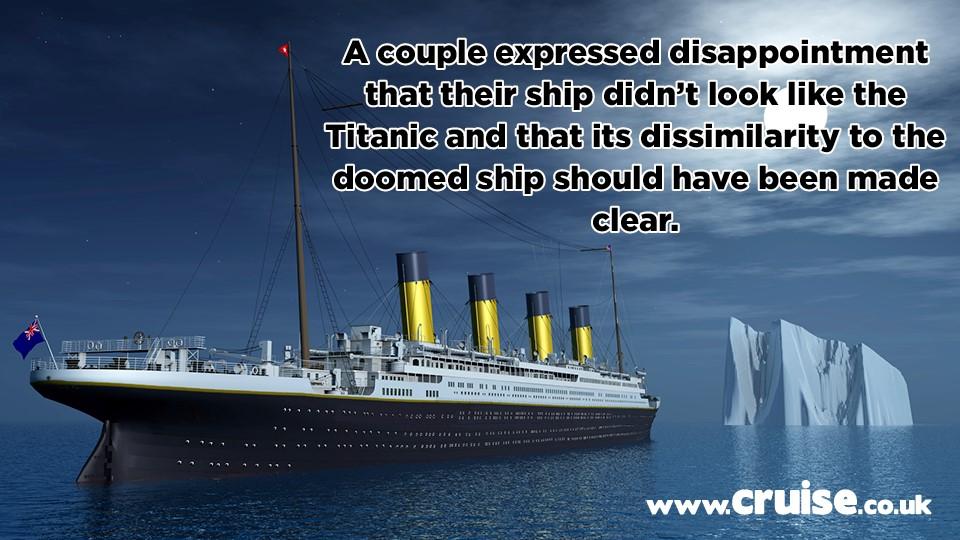 titanic cruise complaint