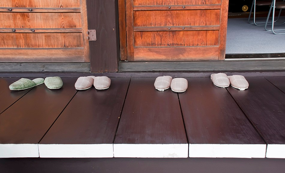 Slippers outside a temple, Japan