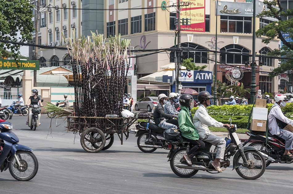 vietmanese scooter pulling a cart