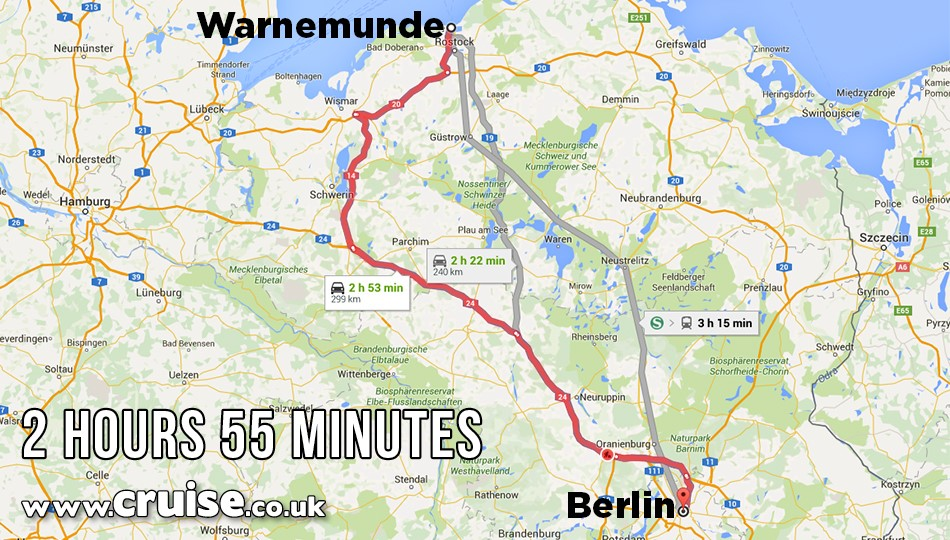 Warnemunde to Berlin cruise itinerary