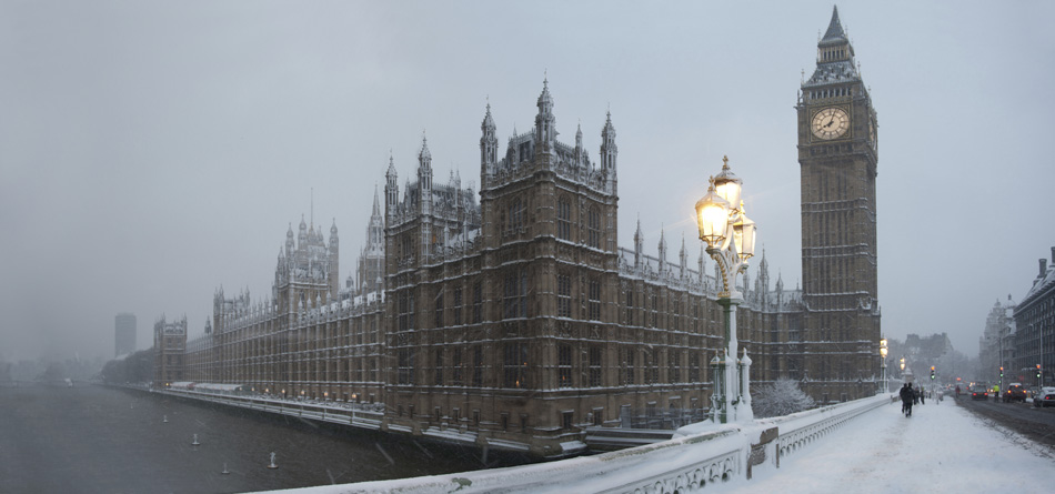 Big ben in a snow storm winter cruise