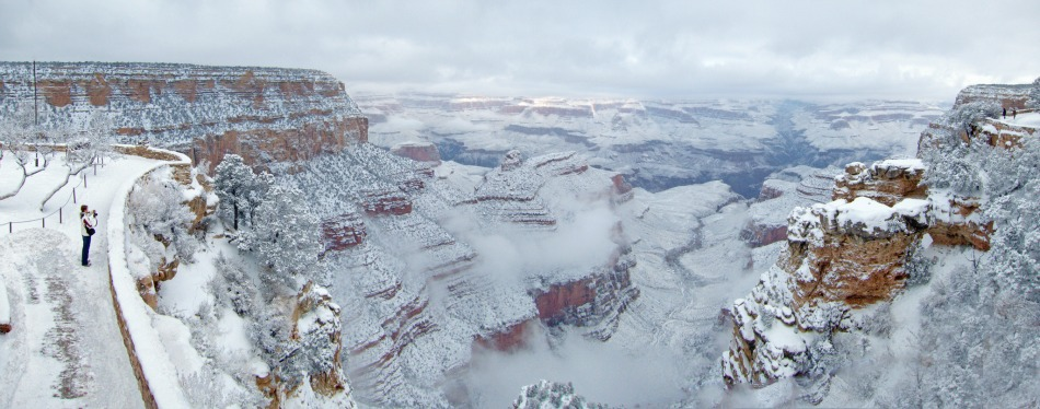 Grand canyon covered in snow