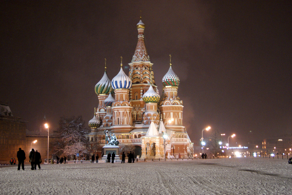 Saint Basil's cathedral covered in snow