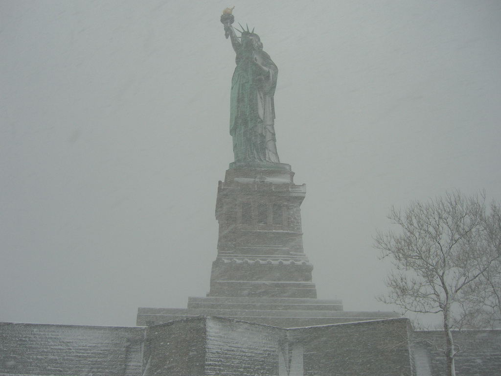 Statue of liberty in a snow storm