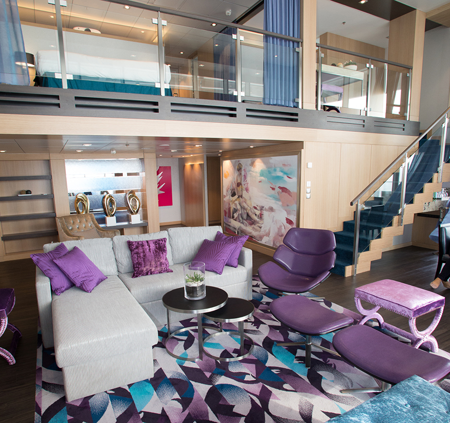 Royal Caribbean International's Harmony of the Seas, the world's largest and newest cruise ship, previews in Barcelona, Spain. Royal Crown Loft Suite
